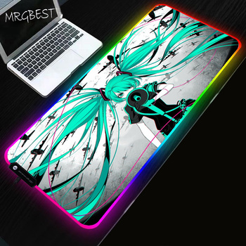 MRGBEST Game Anime Hatsune Miku Game Lol Mouse Pad Computer Game RGB Backlight Mat Mause XXL for Desktop Keyboard Computer Mouse 2018 new usb2 0 3200dpi mechanical mouse game macro program metal compound water cooling game mouse for cf lol