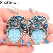 59x24mm Awesome Big Persia Goddess Face Paris Blue Topaz Silver Earrings