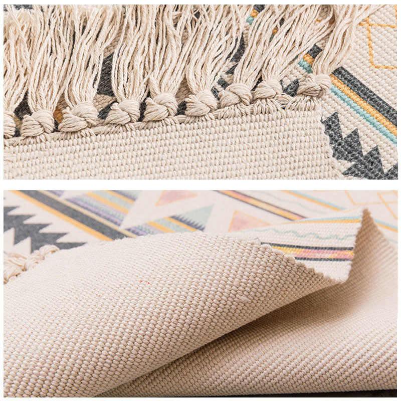 コットンとリネンの房織カーペットフロアマットドア寝室タペストリー装飾毛布茶リビングルームカーペットエリアラグクッション