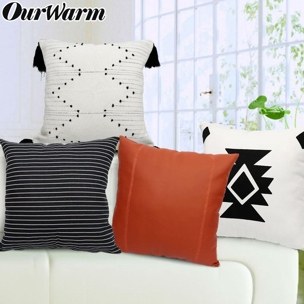 OurWarm Boho Cushion Cover Stripes Throw Pillow 45Cmx45Cm Square Sofa And Chair Decorative Pillow Leather Cover Cushion
