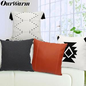 OurWarm Boho Cushion Cover Stripes Throw Pillow 45Cmx45Cm Square Sofa And Chair Decorative Pillow Leather Cover Cushion(China)