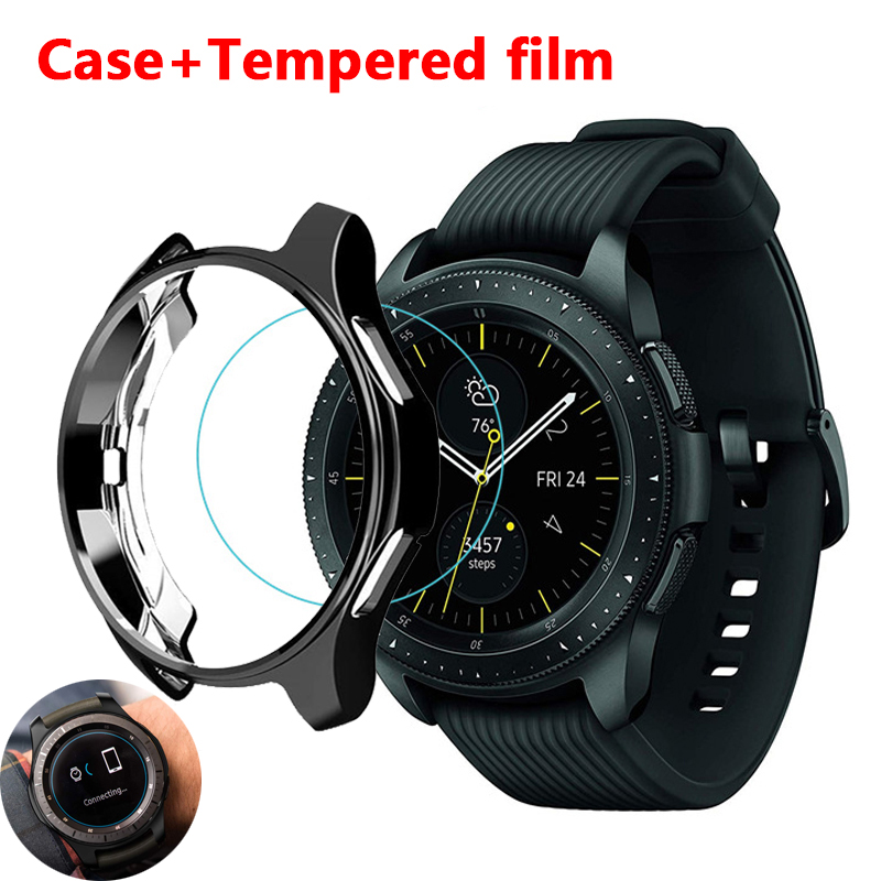 Cover for Samsung Galaxy Watch 46mm 42mm Gear S3 frontier case galss bumper soft smart watch accessories plated protective shell