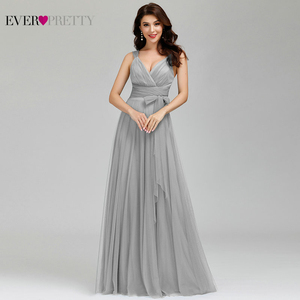 Image 4 - Prom Long Elegant Dresses Ever Pretty EP07303 V neck Sleeveless A line Tulle Teal Prom Dresses 2020 Pink Sexy Vestido Formatura