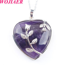 WOJIAER Natural Amethysts Jewelry Rose Flower Pendant Necklaces Leaf Real Love Heart Gem Jewellery for Girl PN3181