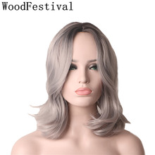цена на WoodFestival Womens Wigs Synthetic Hair Cosplay Heat Resistant Ombre Short Black Grey Wig Wavy