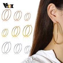 Vnox – boucles d'oreilles surdimensionnées pour femme, bijoux en acier inoxydable, cercle rond classique, Anti-allergie, style Hip Hop