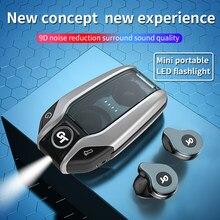 True Wireless Bluetooth Earphones TWS Stereo Earbuds Bass Sound Headphones Mini Flashlight And HD Mic Waterproof Sports Headset