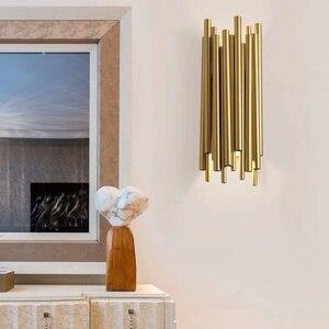 Image 4 - Ouro cromo led luzes de parede tubo metal corpo para sala estar quarto cabeceira superfície montagem decoração casa loft arandela luminárias