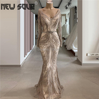 Illusion Brown Embroidery Evening Dress Beading New Arrival Mermaid Arabic Party Dress Prom Gown 2020 Couture Robe De Soiree