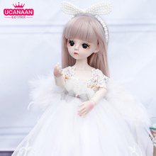 1/6 BJD Doll 18 Ball Jointed Dolls 30CM Girls Doll With White Dress Wig Shoes Makeup Toys For Girls Birthday Gifts Collection