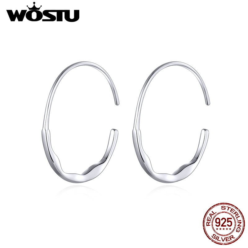 WOSTU Genuine 925 Sterling Silver Circle Hoop Earrings Classic Style Glossy Big Earrings For Women Wedding Unique Jewelry CQE839