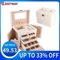 COSTWAY Portable Jewelry Box Organizer Ring Stud Earrings Jewelry Storage Box With Mirror Faux Leather Box W0227