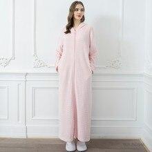 Kimono Bathrobe Warm Sleepwear Gown Nightwear Hooded Couples Home Clothes Flannel Thicken