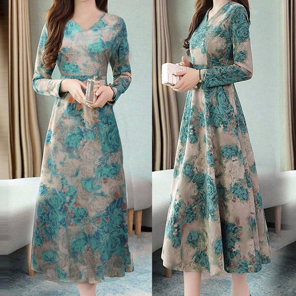 Women Dress Lady Elegant Retro Dresses V neck Long Evening Party Long Sleeve