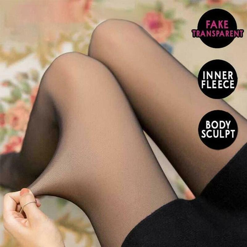 Fake Legs Translucent Slim Stretchy Black Panty Sexy Leggings Grid Flower Similar Skin Women Velvet Thick Elastic Warm Pants