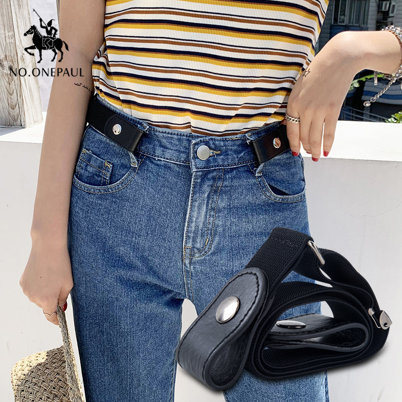 NO.ONEPAUL Women's New Buckle-free Punk Style Fashion Jeans Belt Slim Waist Simple Wild Dress Youth Trend Belts Free Shipping