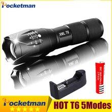 Lanterna led recarregável pocketman xml t6 linterna tocha powerfull 18650 bateria de acampamento ao ar livre poderosa lanterna led 93
