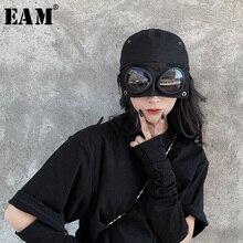 [EAM] Women Black Split Joint Cool Fishermen Hat New Round Dome Temperament Fashion Tide All match Spring Autumn 2020 1H275