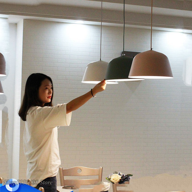 Nordic Aluminum Led Pendant Lights Fixture Modern Circular  Suspension Hanging Lamp Bedside Cafe Dining Room Home Deco Luminaire