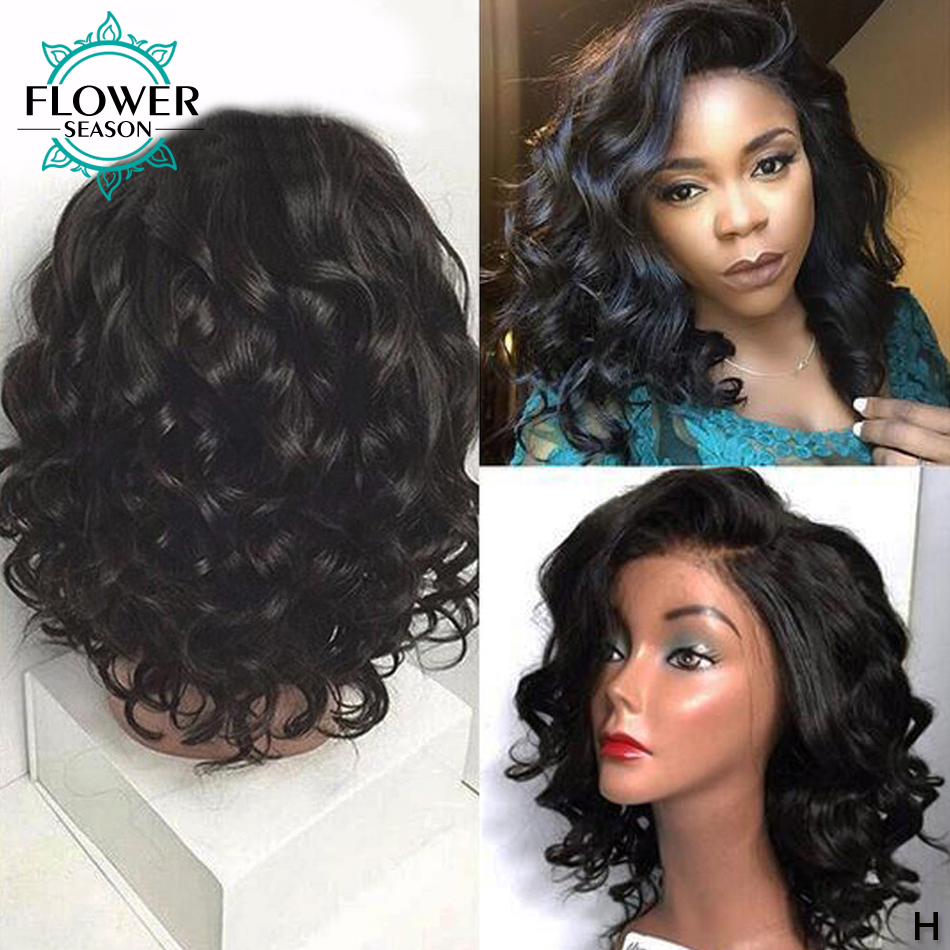 150% Fake Scalp Wig 13x6 Short Water Wave Lace Front Human Hair Wigs Pre Pluked Medium Length Brazilian Remy Wig FlowerSeason