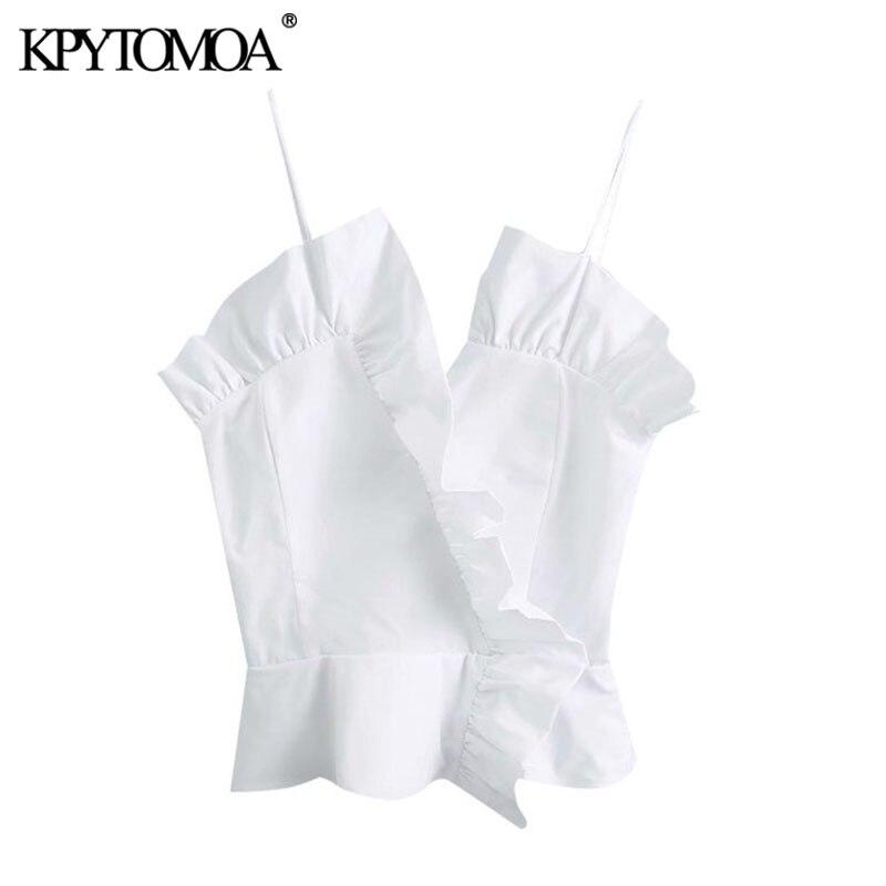 KPYTOMOA Women 2020 Sexy Fashion Ruffled Cropped Blouses Vintage V Neck Backless Smocking Thin Straps Female Shirts Chic Tops