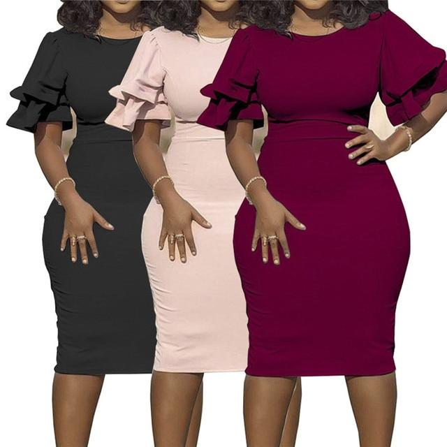 Large size XL-5XL Sudress 2020 Women's Dress O-Neck lanterm Sleeve Slim Night Solid Party short dress 1