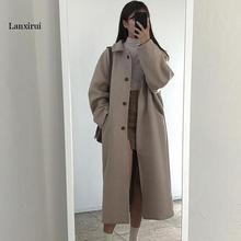 Koreanische version Frauen Woolen Jacke Mode Winter Neue Medium Lange Feste Farbe Weibliche Elegante Lose mantel