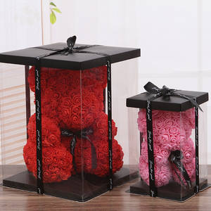 Rose Christmas-Gift-Box Artificial-Flowers Home-Decoration-Accessories Teddy Bear Wedding