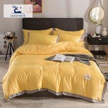 Liv-Esthete Luxury Yellow 100% Mulberry Silk Healthy Bedding Set Duvet Cover Silky Pillowcase Queen King Flat Sheet Bed