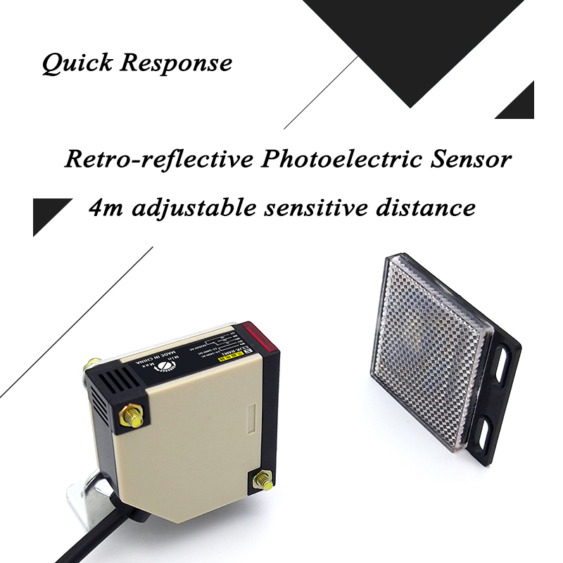 4m Detective Range Retro-reflective Photoelectric Sensor Infrared Relay Output Photocell Switch Residental Home Gate Opener