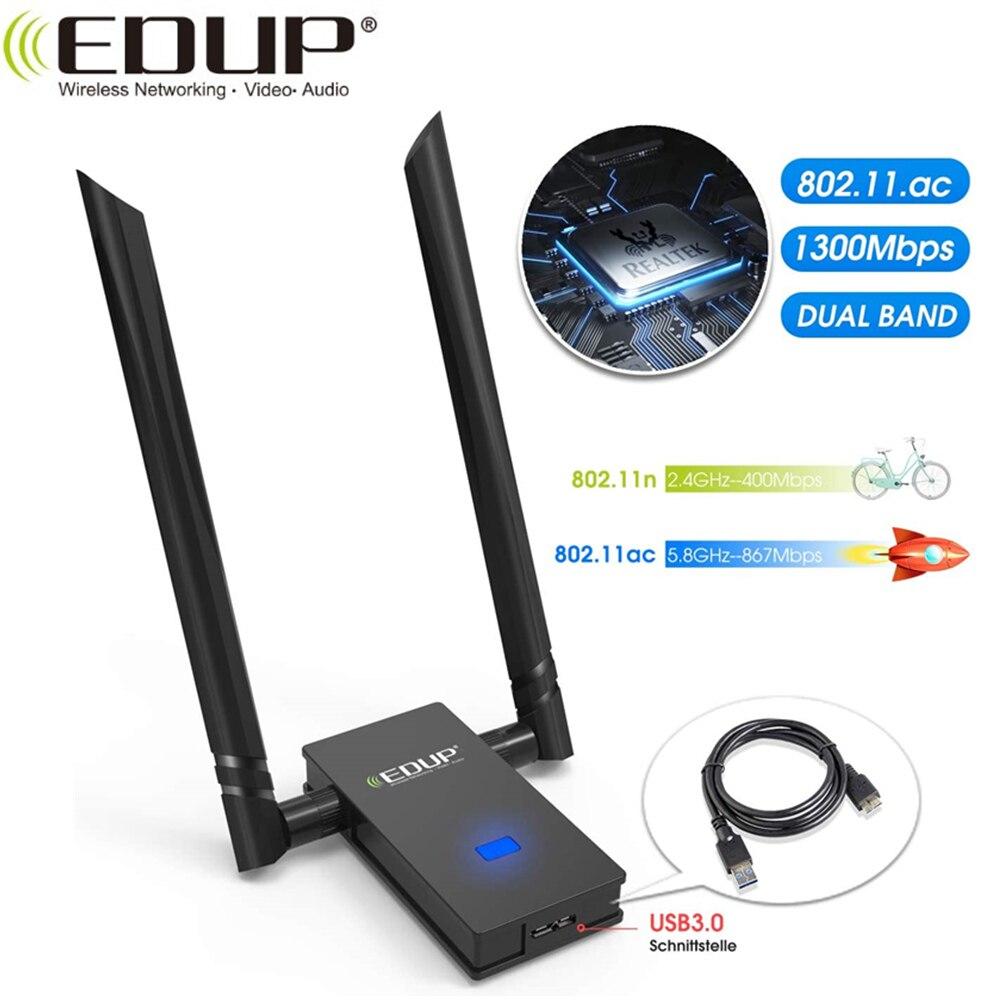 EDUP 2*6dBi USB Wireless Wi-Fi Adapter USB Wireless WiFi Adapter USB Network Card Dual Band WiFi Receiver USB3.0
