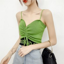 2019 Sexy V Neck Cropped Tank Tops Camisole Women Letter Drawstring Tie Up Camis Streetwear Summer Casual Strap Crop Top New aproms elegant ruched ruffle women tank tops sexy bow tie up female camis casual cropped summer stretch white crop top 2019
