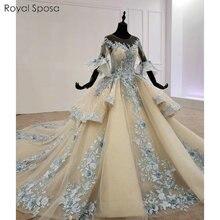 Đẹp Champagne Màu Xanh Phối Ren Váy Cưới Với Lông Mũi