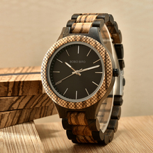reloj hombre BOBO BIRD Wood Watch Men Wooden Strap Quartz Wr