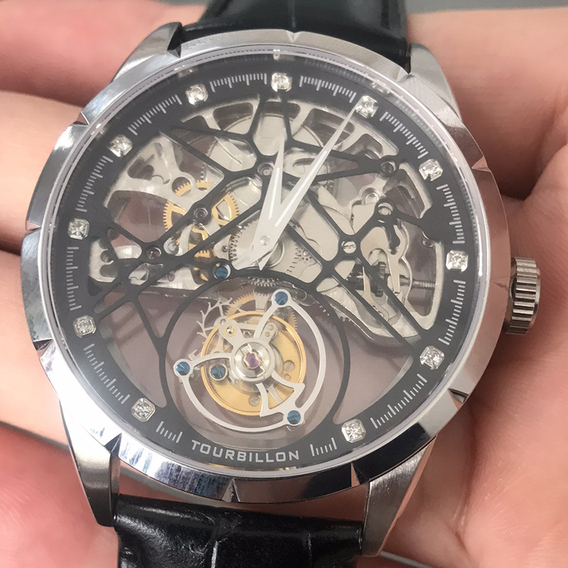 Image 4 - Super New Model GUANQIN Original Tourbillon business men watch top brand luxury Skeleton Sapphire  clock men Relogio Masculino-in Mechanical Watches from Watches