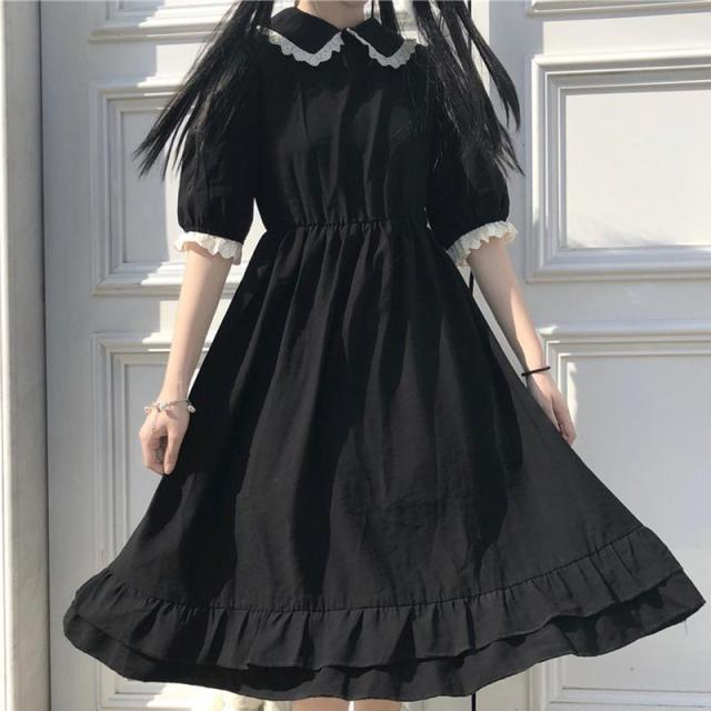 Summer new dress female Korean version loose navy collar doll collar fold waist slimming over knee dress dress for women 1