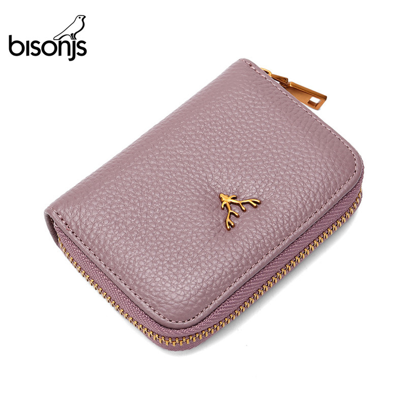 BISON DENIM Cow Leather Women Wallets ID Card Holder Ladies Wallet Coin Pocket Short Small Purses High Quality B3286