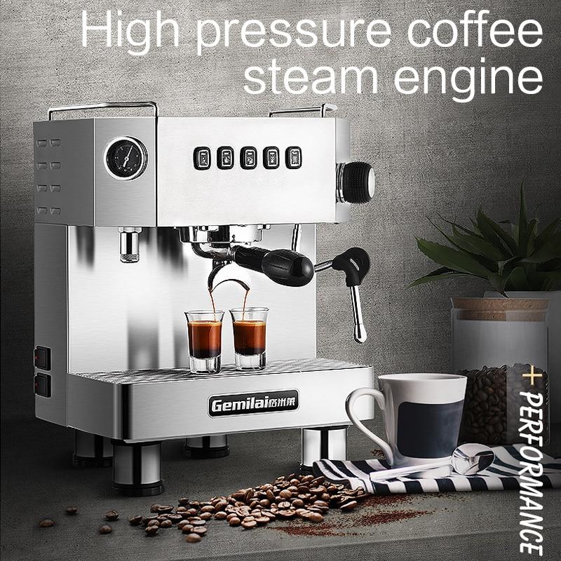 Маленькая итальянская полуавтоматическая Бытовая Коммерческая кофемашина из нержавеющей стали высокого давления Паровая двойная