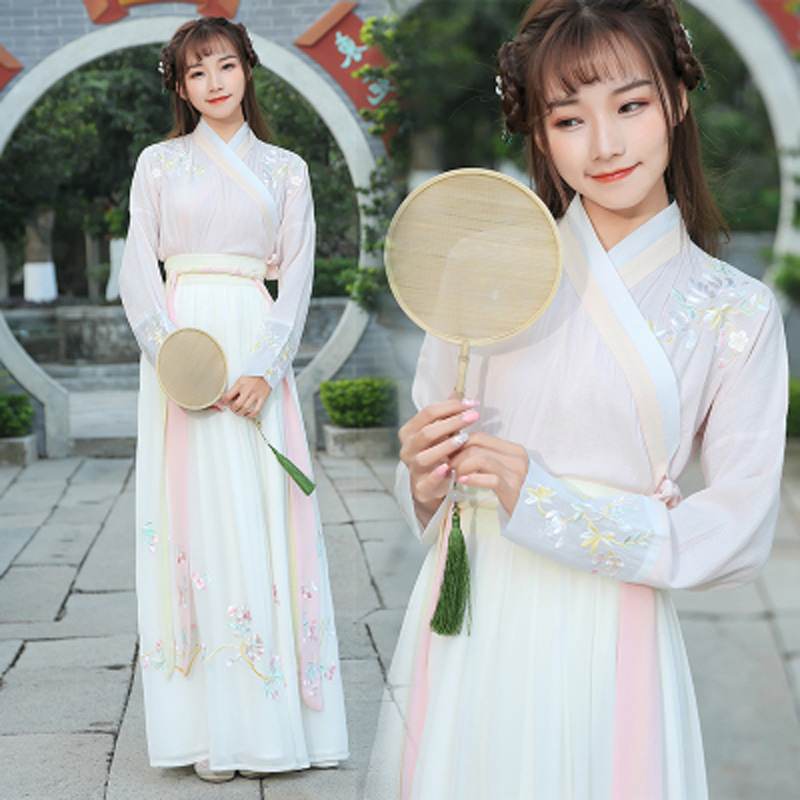 Chinese Classical Dance Costume Embroidery Hanfu Festival Outfit Women Rave Performance Clothes Singer Folk Fairy Dress DF1235