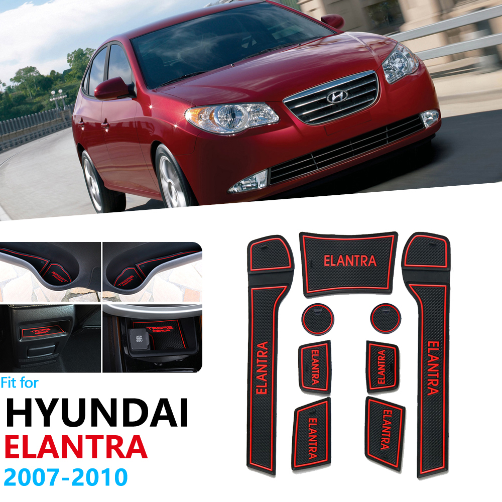 Anti-Slip Rubber Gate Slot Cup Mat For Hyundai Elantra HD 2007 2008 2009 2010 Door Groove Mat Cushion Coaster Avante Accessories