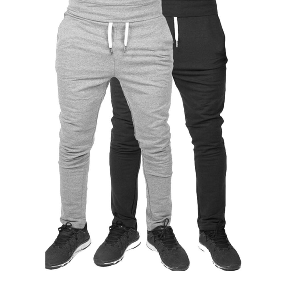 Summer New Men Pants Solid Color  Trouser Sweatpants Elastic Drawstring Trousers Sport Joggers Bottoms Streetwear