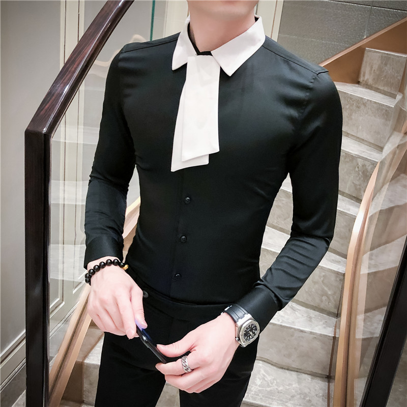 Fashion 2020 Shirt Long Sleeve Solid Designer Madarin Slim Fit Shirt Men Dress Camisa Social Streetwear Masculina Camicie Uomo
