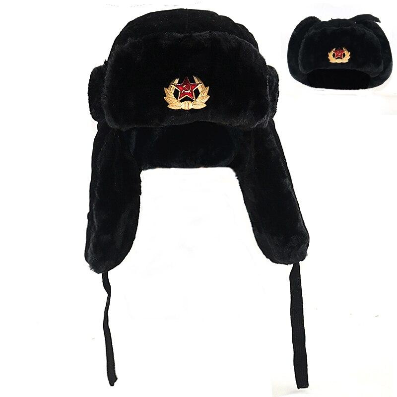 Sovjet Militaire Badge Rusland Ushanka Bomber chapeau Faux Konijnenbont Oorklep Sneeuw casquettes hoed chaud ski chapeaux de haute qualité