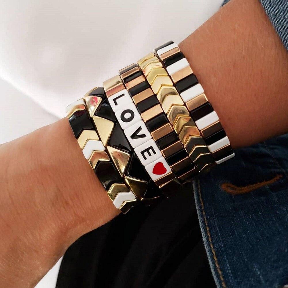 Shinus Bracelets For Women Enamel Tile Bangles Gold Color Bracelet Letter LOVE Pulseras Mujer Moda 2020 Jewelry Men Fashion Gift