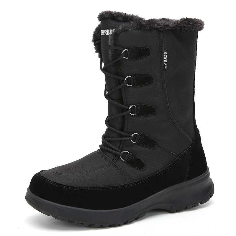STQ ผู้หญิงฤดูหนาวรองเท้ารองเท้าส้นสูง WARM Plush รองเท้ากันน้ำอุ่นผู้หญิงหิมะรองเท้าบูทรองเท้ารองเท้าหญิงกลางลูกวัวรองเท้าบูทรองเท้า TF1036