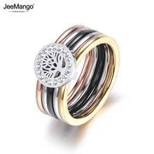 JeeMango – bague de fiançailles et de mariage en acier et titane pour femme, bijou en forme d'arbre de vie, en cristal CZ, couleur or, cadeau, JR18015