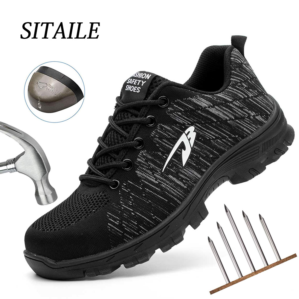 Dropshipping Puncture-Proof Safety Shoes Indestructible Non-slip Steel Toe Work Shoes Outdoor Breathable Men Shoes
