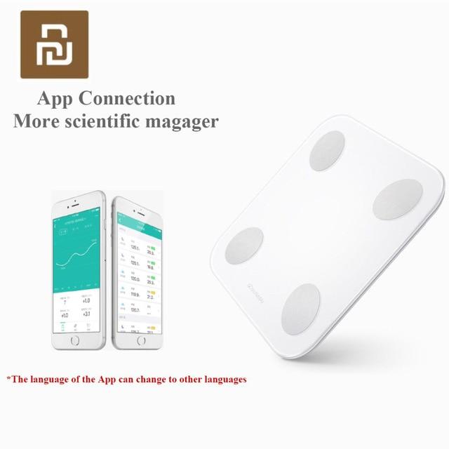 Умные весы Youpin YUNMAI Mini 2 для определения веса жира в теле, скрытый светодиодный дисплей с приложением на английском языке, умные весы для тела