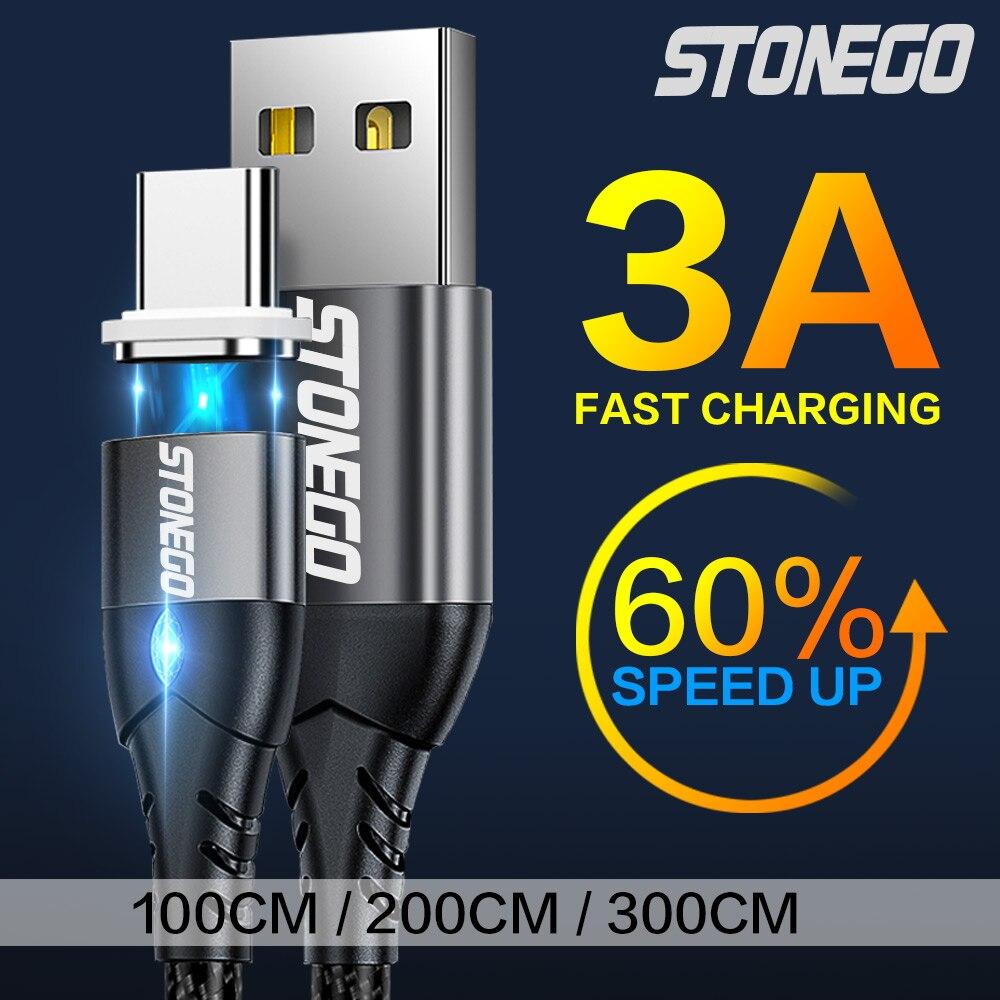 Магнитный usb-кабель STONEGO 3A, светодиодный индикатор в алмазном стиле, прочный нейлоновый шнур для быстрой зарядки и синхронизации данных с ра...