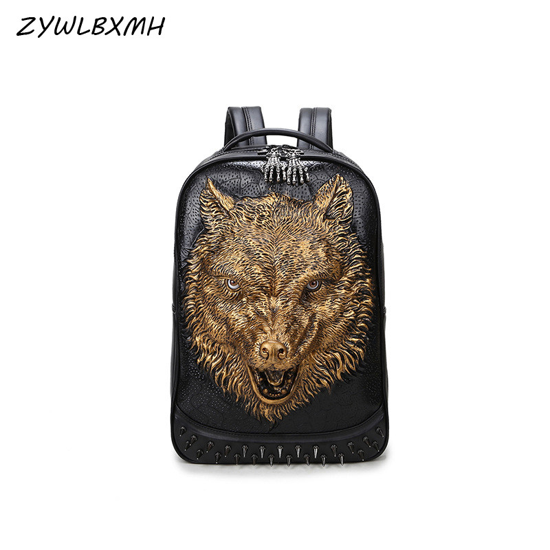 3D Stylish And Nice Print Pattern Cosmic Wolf Genuine Leather Backpack Purse For Women Travel Large College Shoulder Bag
